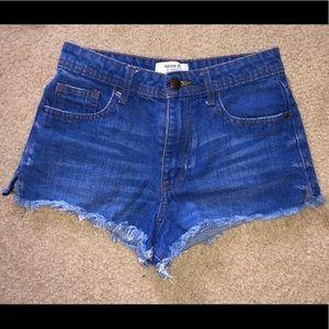 Cut-off jean shorts